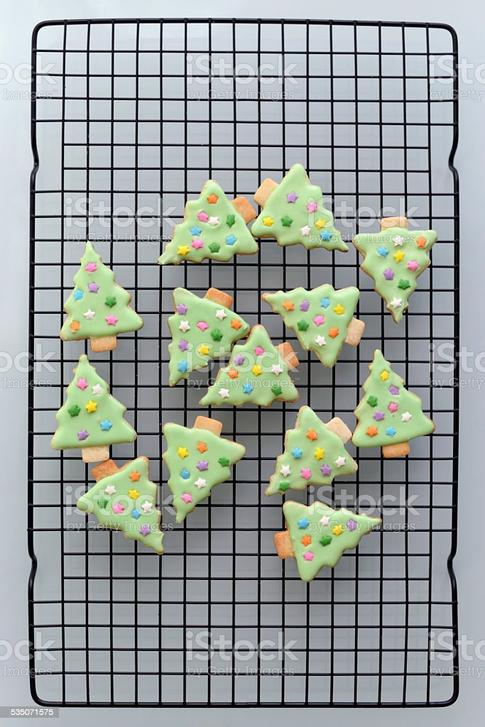 Iced Christmas Tree Sugar Cookies stock photo