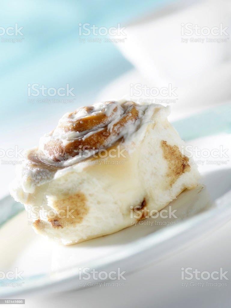 Iced Cinnamon Bun with Coffee royalty-free stock photo