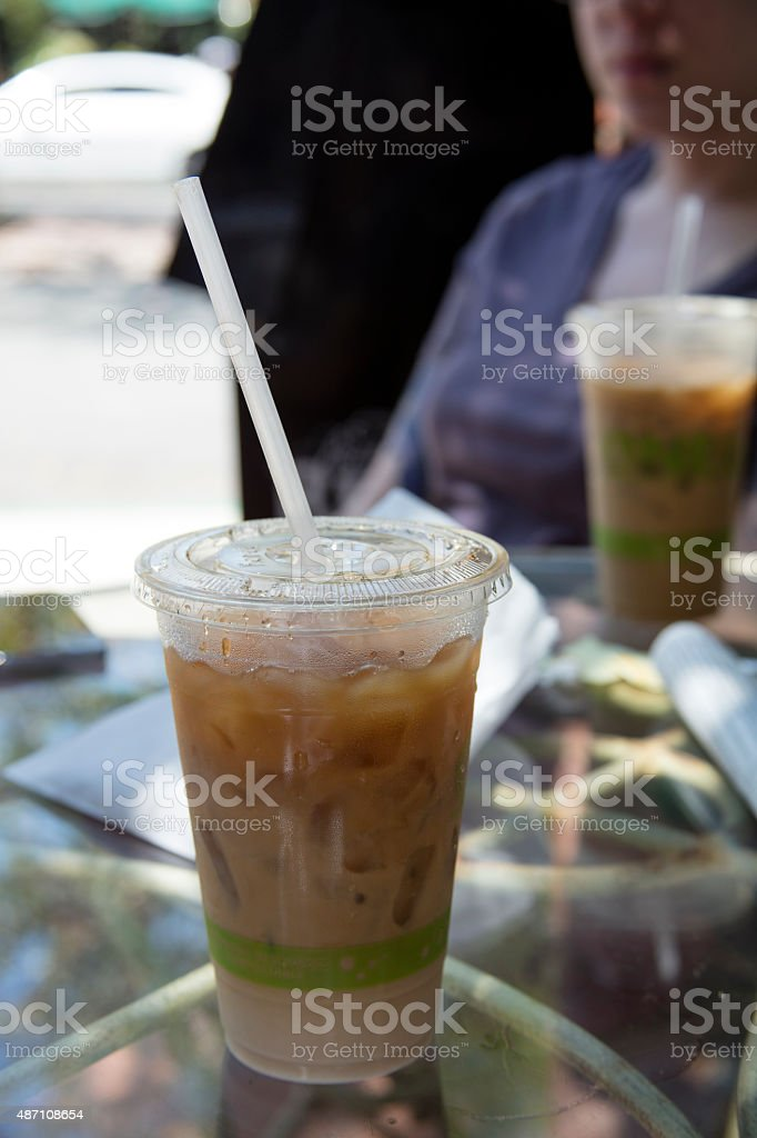 Iced coffee at a coffee house stock photo