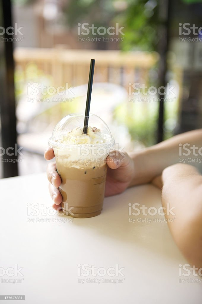 Iced Coffee in Takeaway Cup royalty-free stock photo