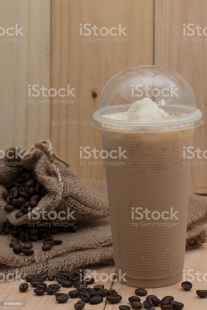 iced coffee on wood background stock photo