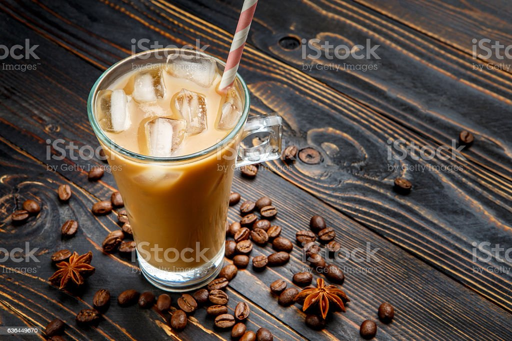 Iced coffee or latte in glass cup stock photo