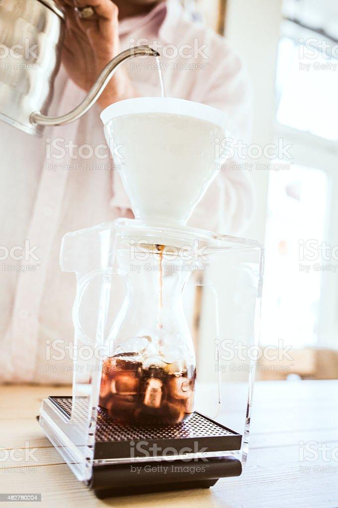 Iced Coffee Preparation stock photo