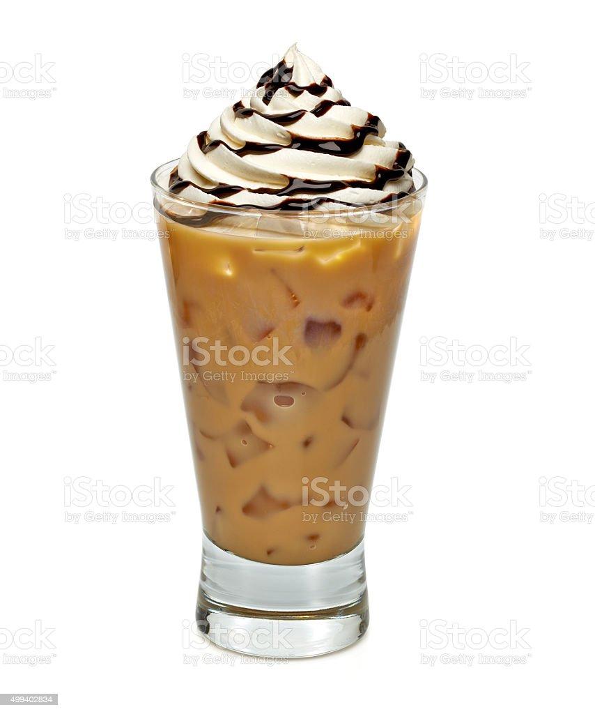 Iced coffee with chocolate sauce cream stock photo