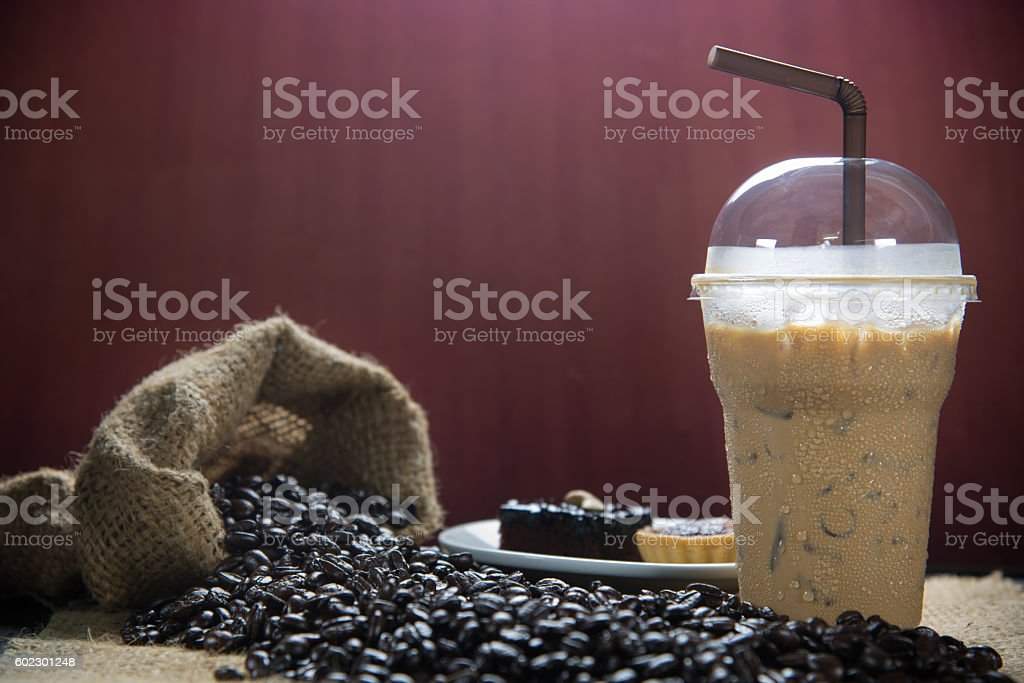 Iced coffee with coffee beans stock photo