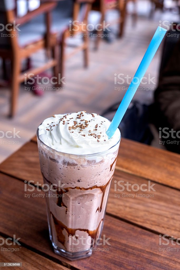 iced coffee with milk is on the table. stock photo