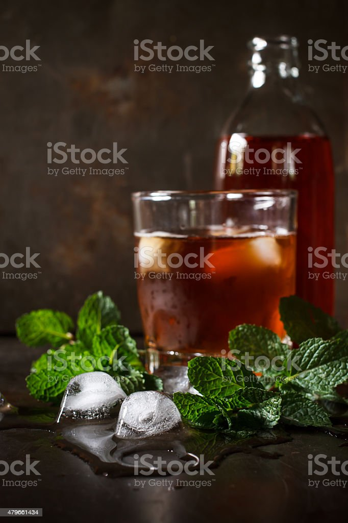 iced cube with mint stock photo