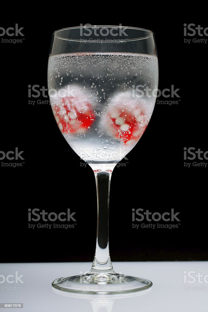 Iced Dice in Sparkling Water royalty-free stock photo