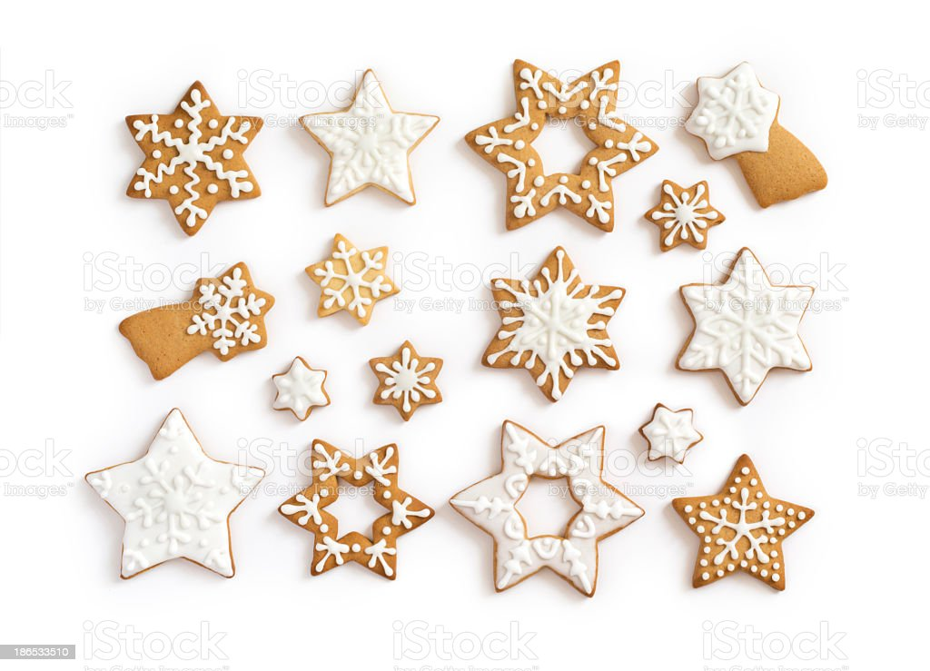 Iced gingerbread cookies for Christmas stock photo