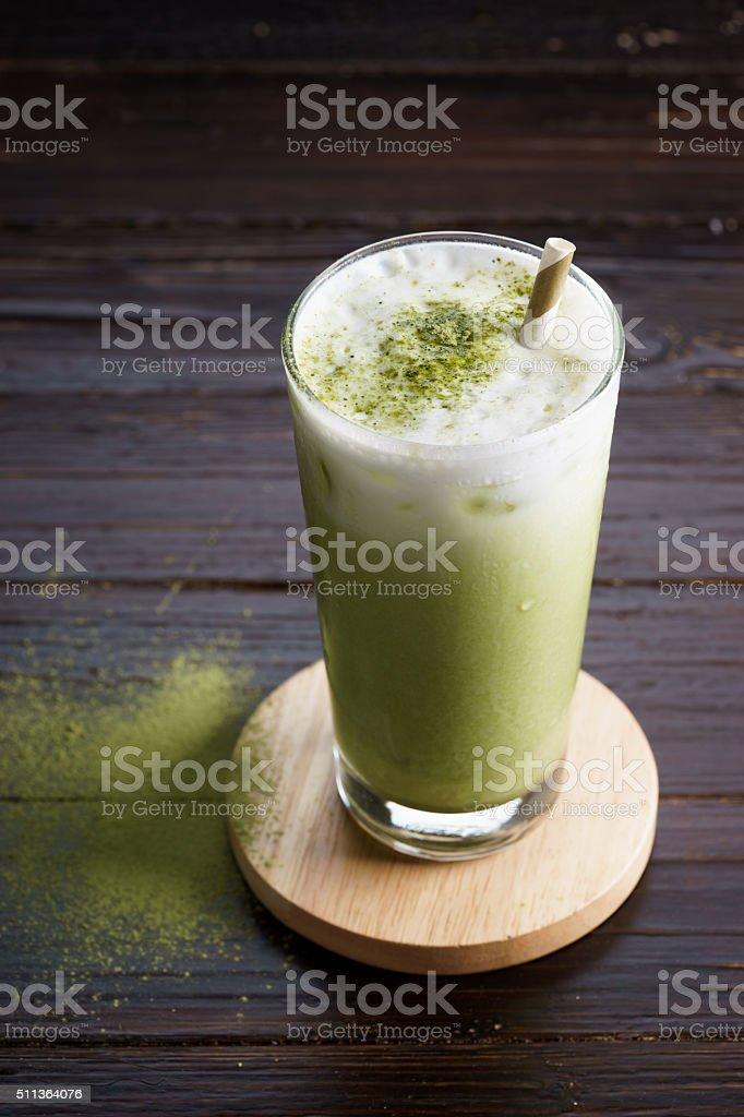 iced green tea latte stock photo
