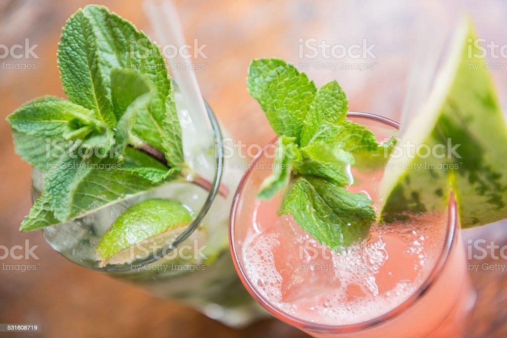 Iced Herbal Chai Tea and Watermelon Drinks stock photo