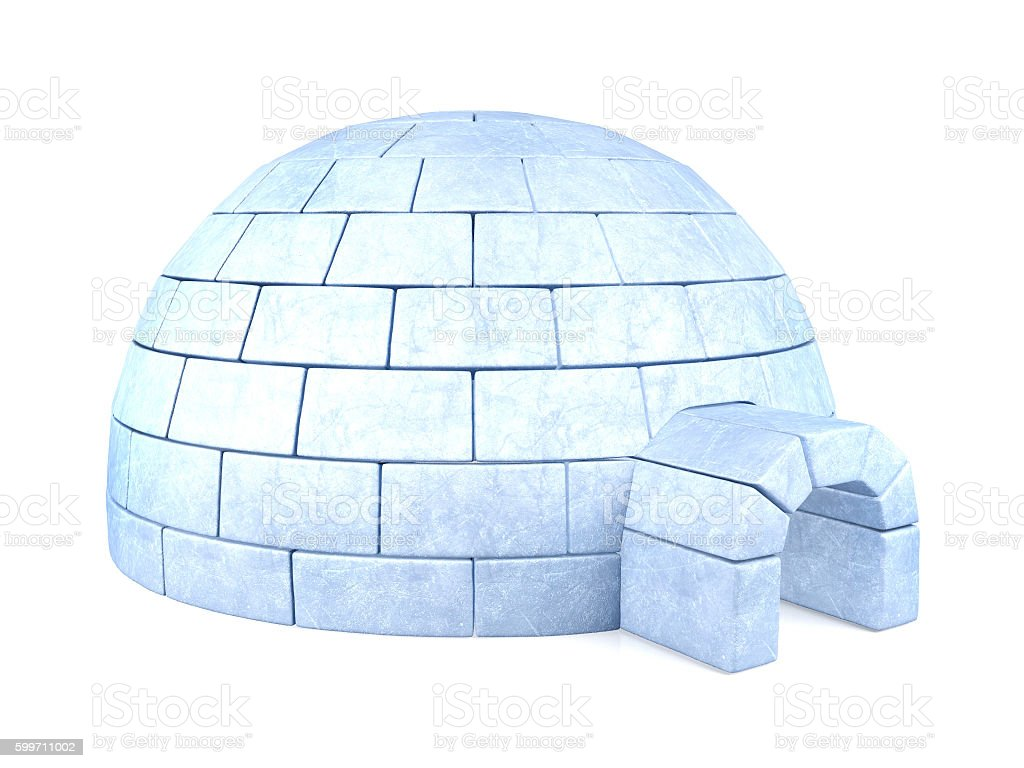 Iced igloo isolated on white background stock photo