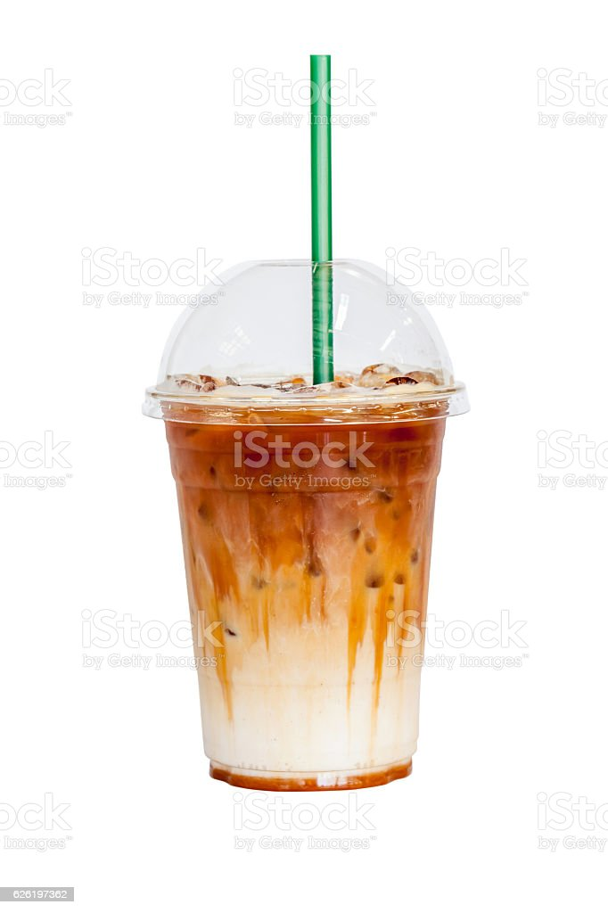 Iced latte coffee topped with fresh milk layer white background. stock photo