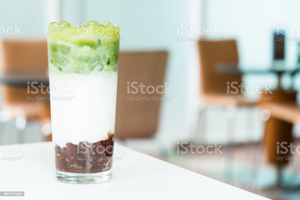 Iced macha green tea latte stock photo