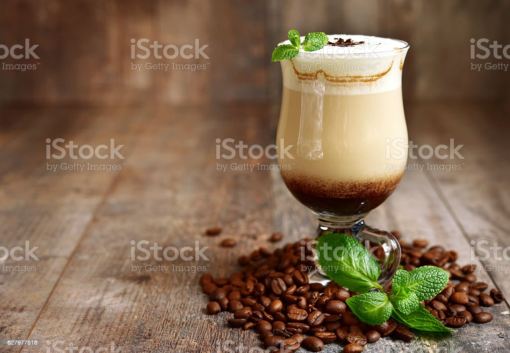 Iced mint  latte in a glass . stock photo