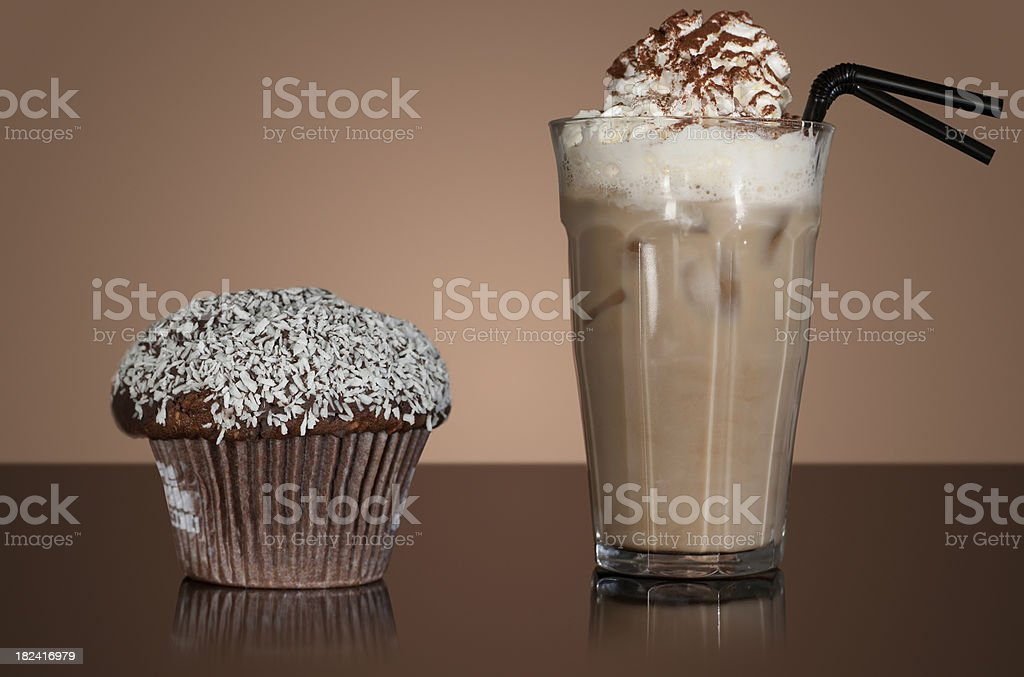 Iced mocha and chocolate muffin stock photo