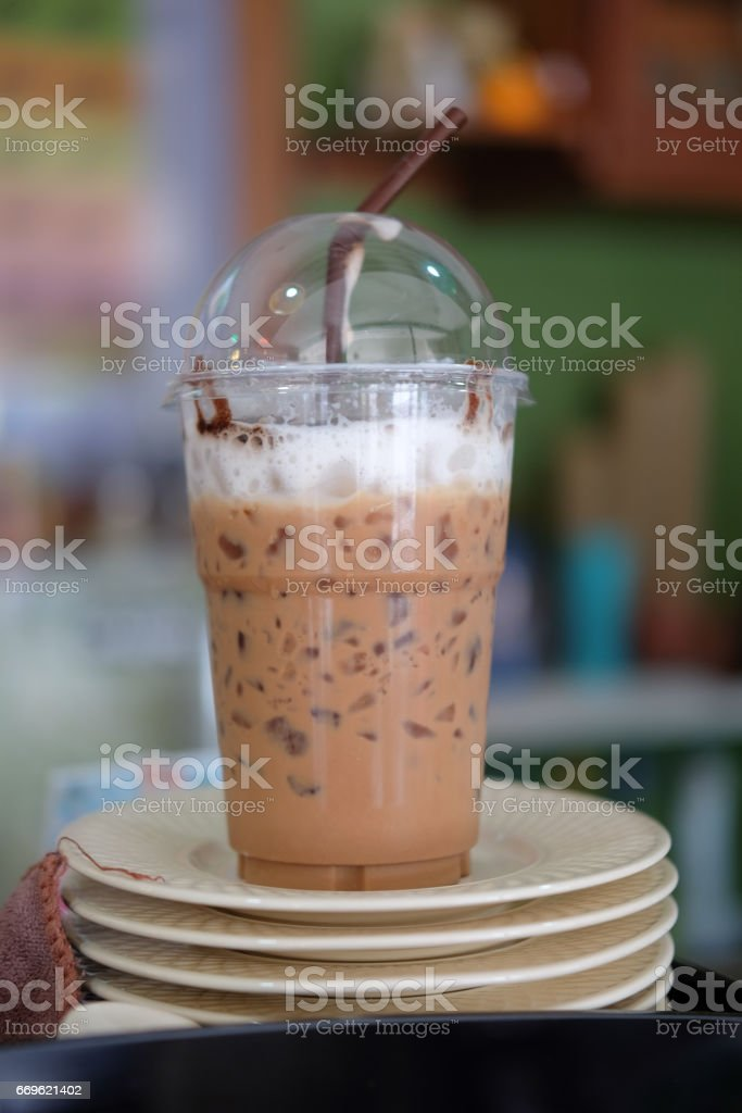 Iced Mocha coffee in coffee shop. stock photo