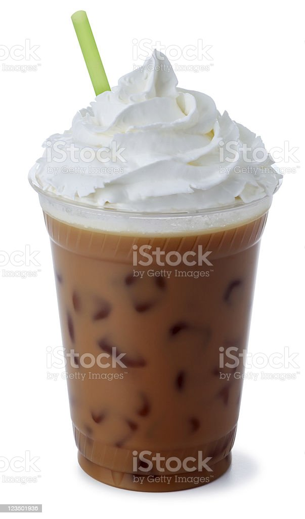 Iced Mocha Coffee with Whipped Cream stock photo