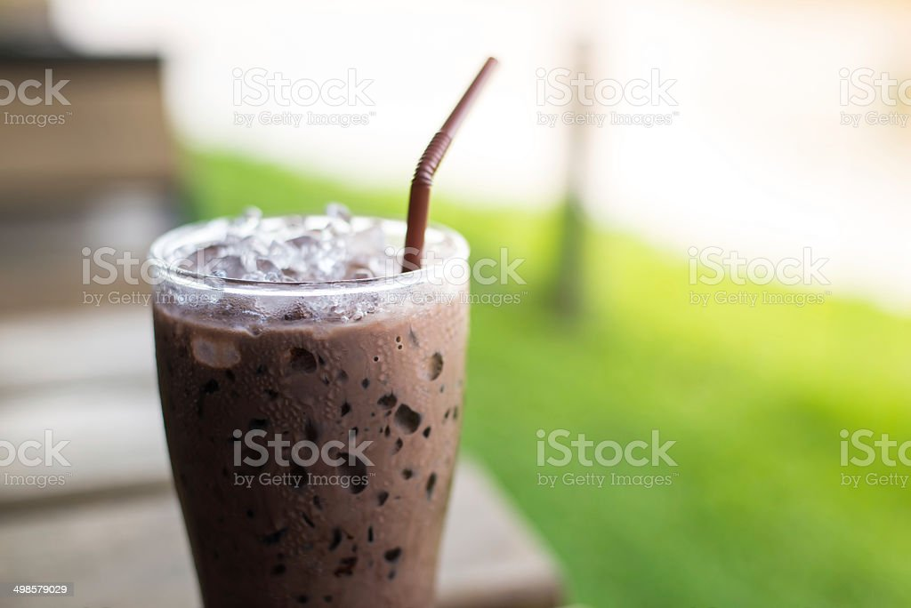 iced morning chocolate stock photo
