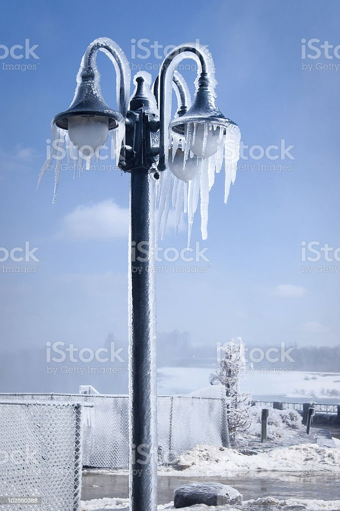 Iced street lamp royalty-free stock photo