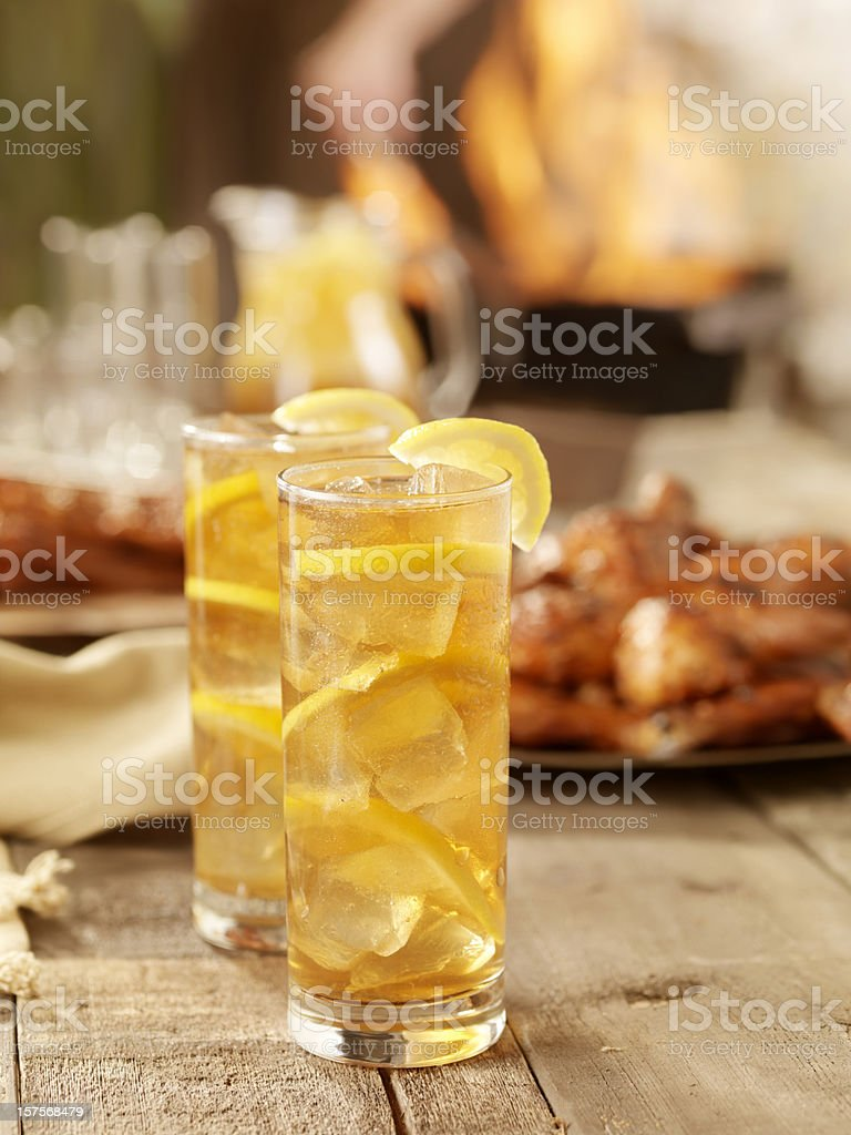 Iced Tea and BBQ Chicken royalty-free stock photo