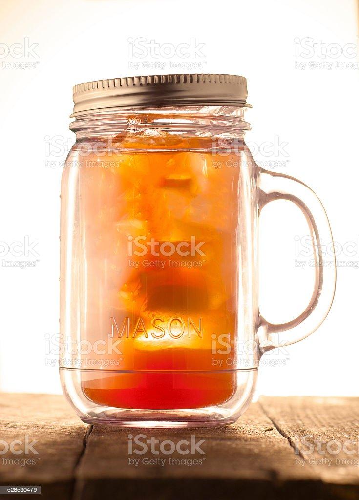 Iced Tea in a Mason Jar stock photo