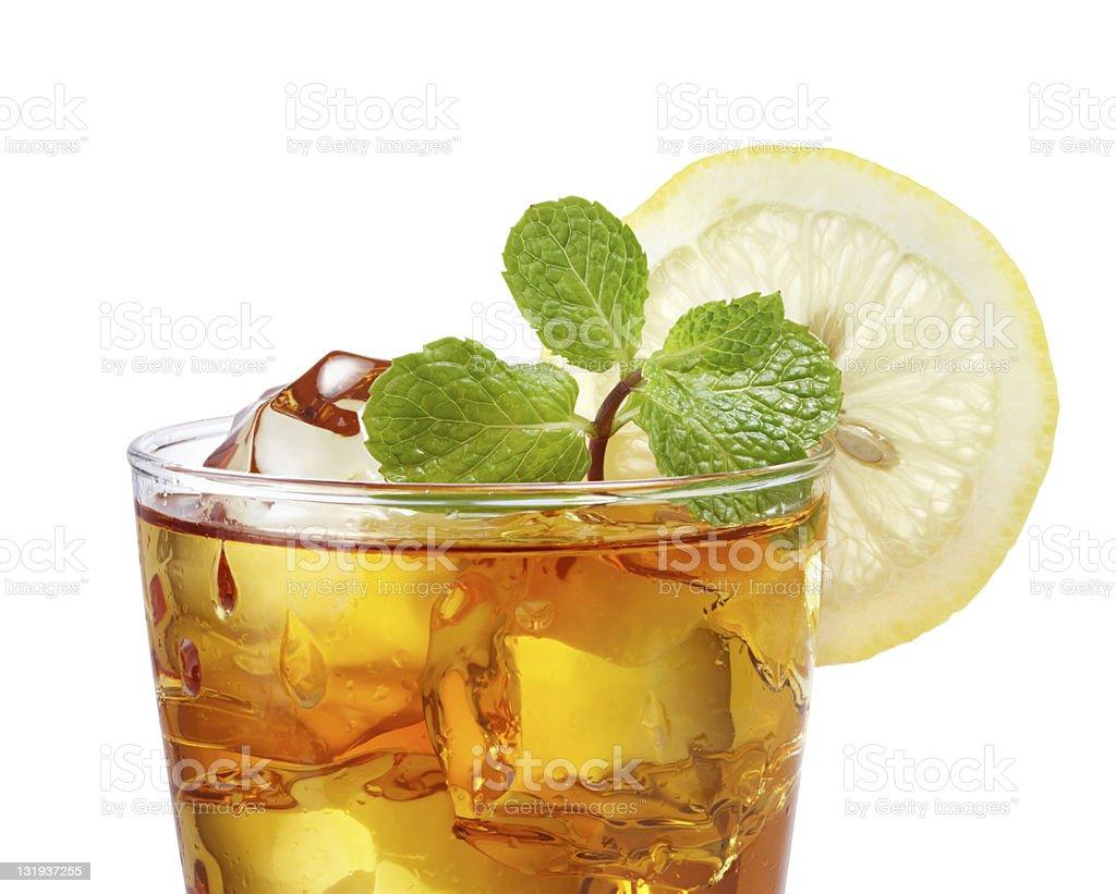 Iced tea with lemon and garnish stock photo