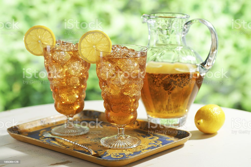 Iced Tea with Pitcher stock photo