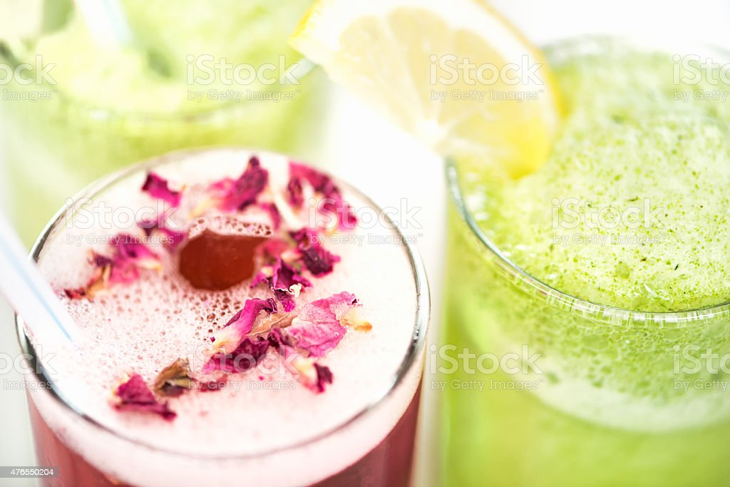 Iced Tea with Rosewater and Rose Petals, Mint Lemonade Juice stock photo