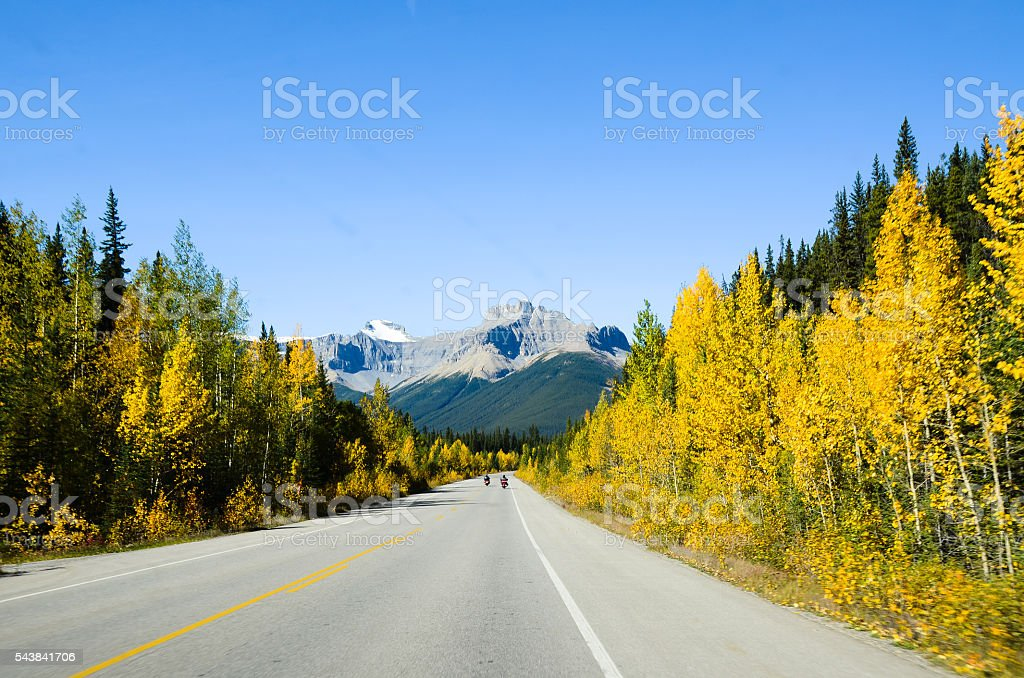 Icefields Parkway in Autumn, Canadian Rockies (Canada) stock photo