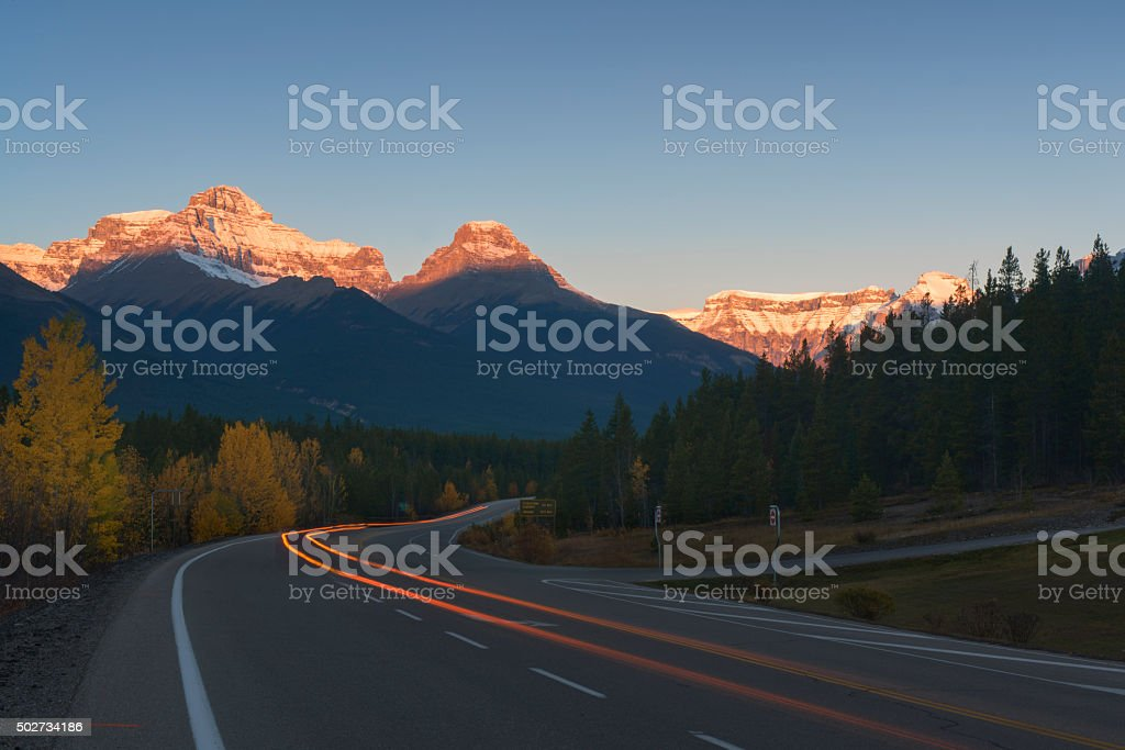 Icefields Parkway in Dawn stock photo