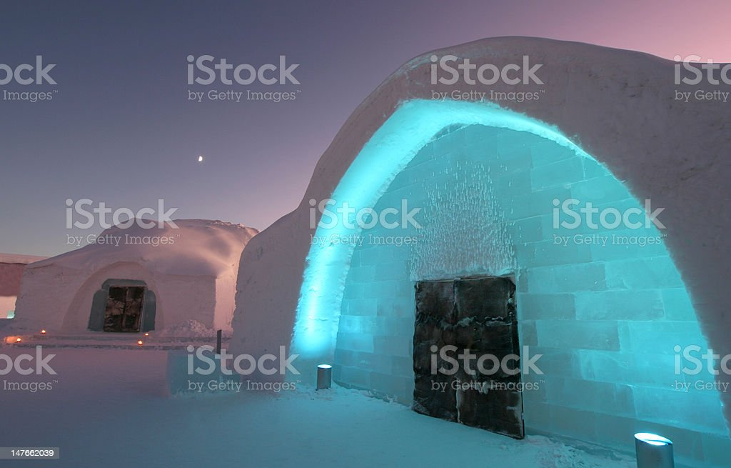 Icehotel Entrance with Ice Church stock photo