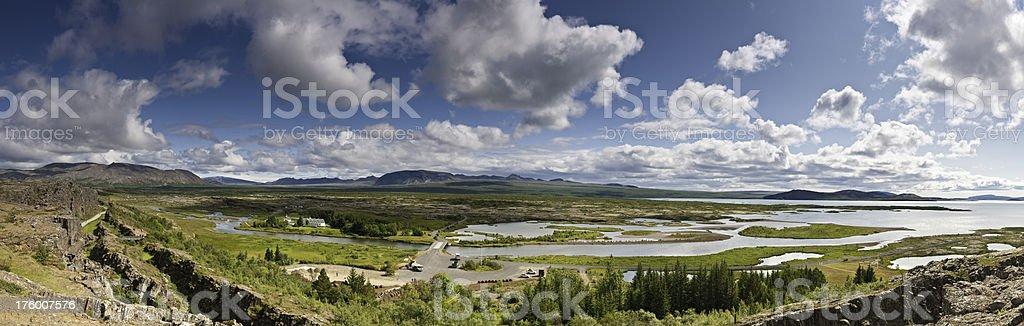 Iceland Þingvellir ancient parliament site rift valley vista stock photo