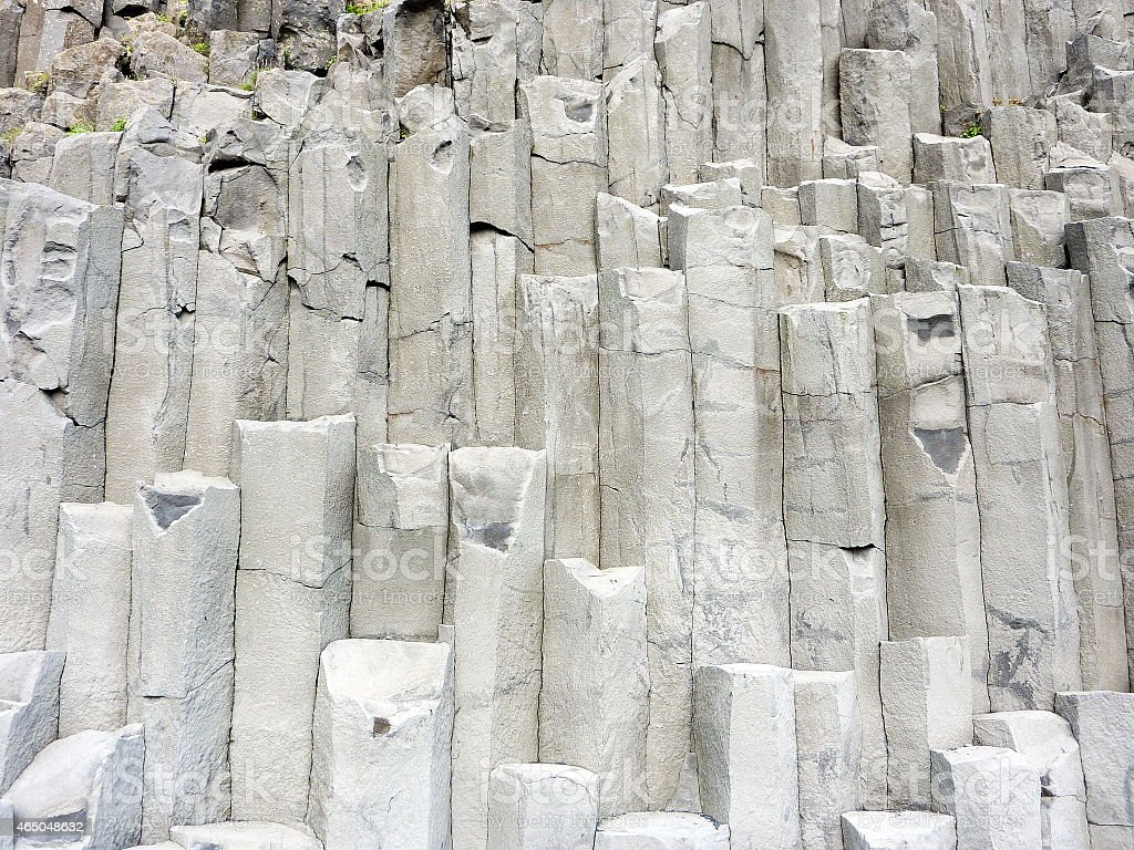 Iceland basalt formation rocks stock photo