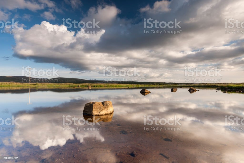 Iceland beautiful lake reflections arctic landscape stock photo