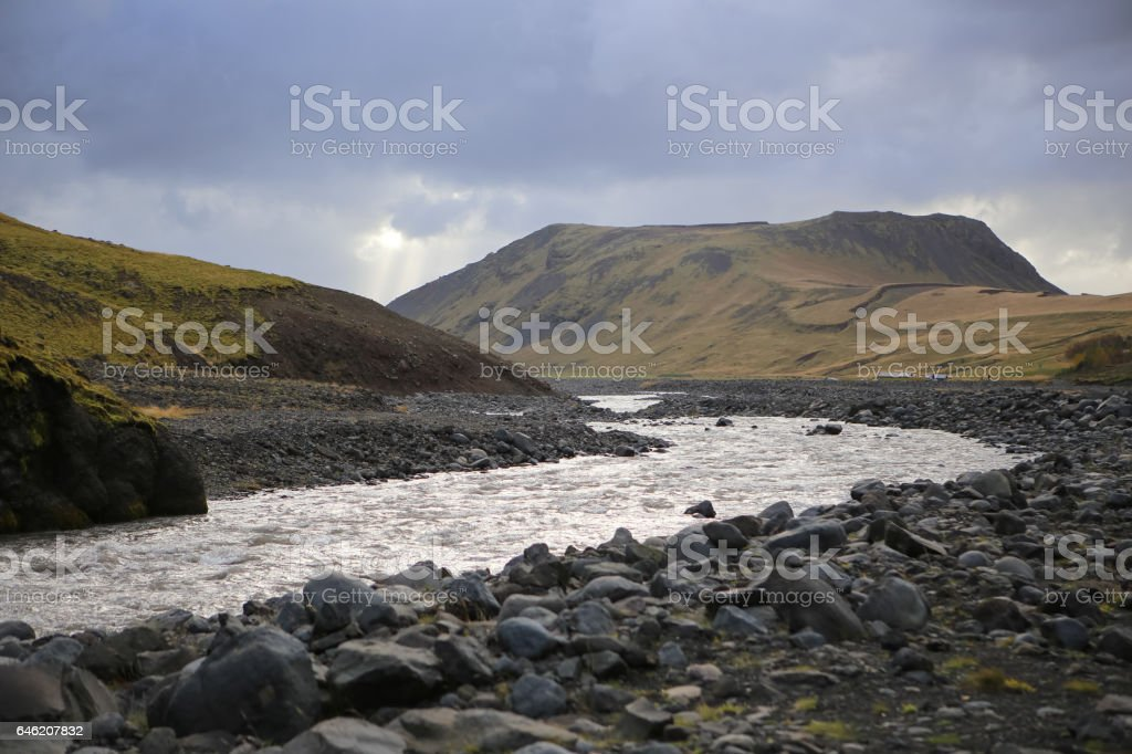 Iceland- Beautiful River Valley of Eyjafjallajokull Near Seljavallalaug Autumn stock photo
