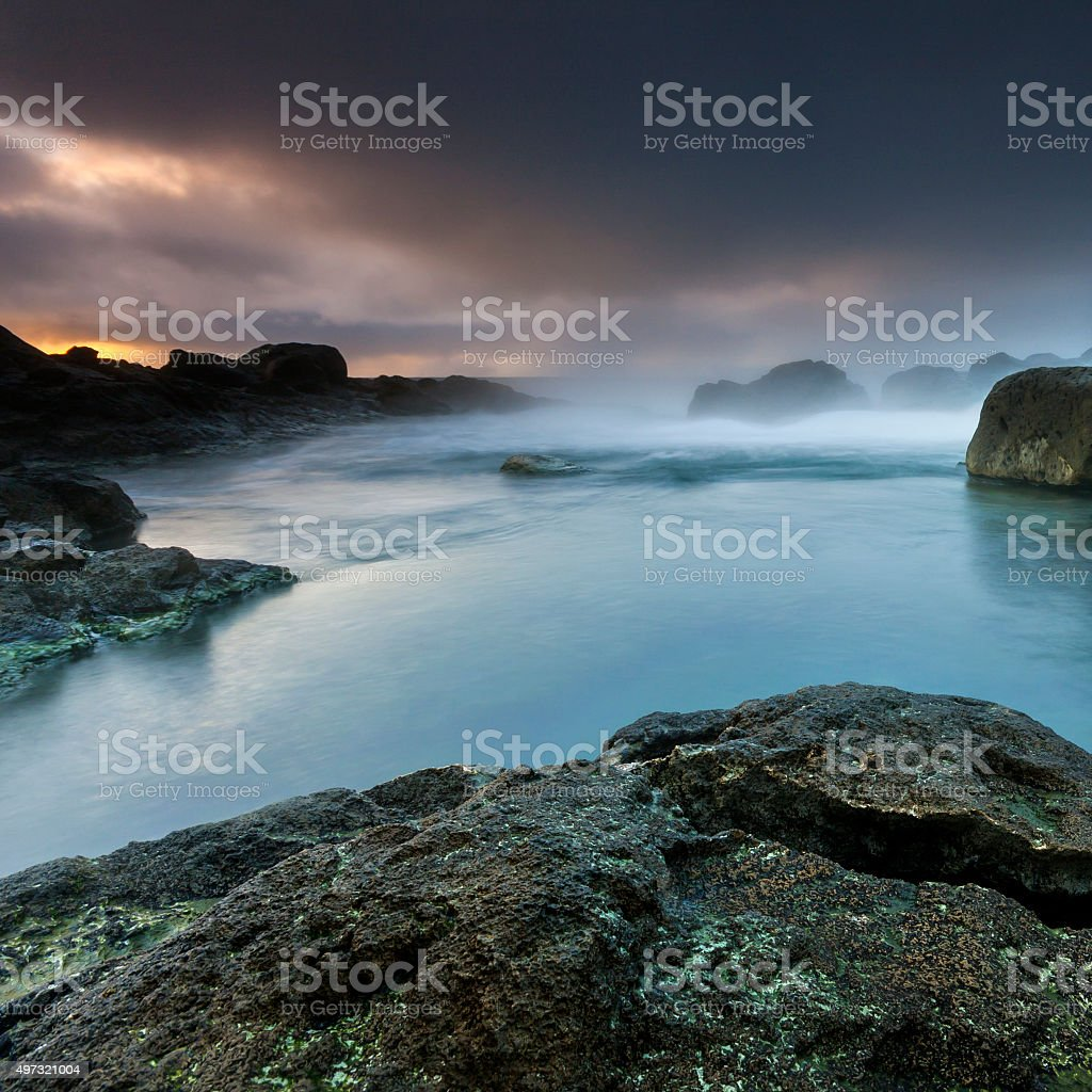 Iceland Colorful Stormy Ocean Volcanic Beach stock photo
