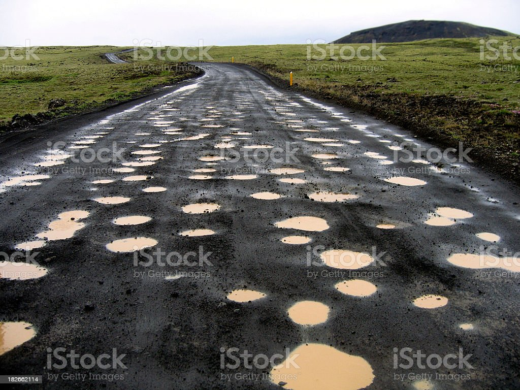 Iceland: Crazy Road Holes on a Highland Route stock photo