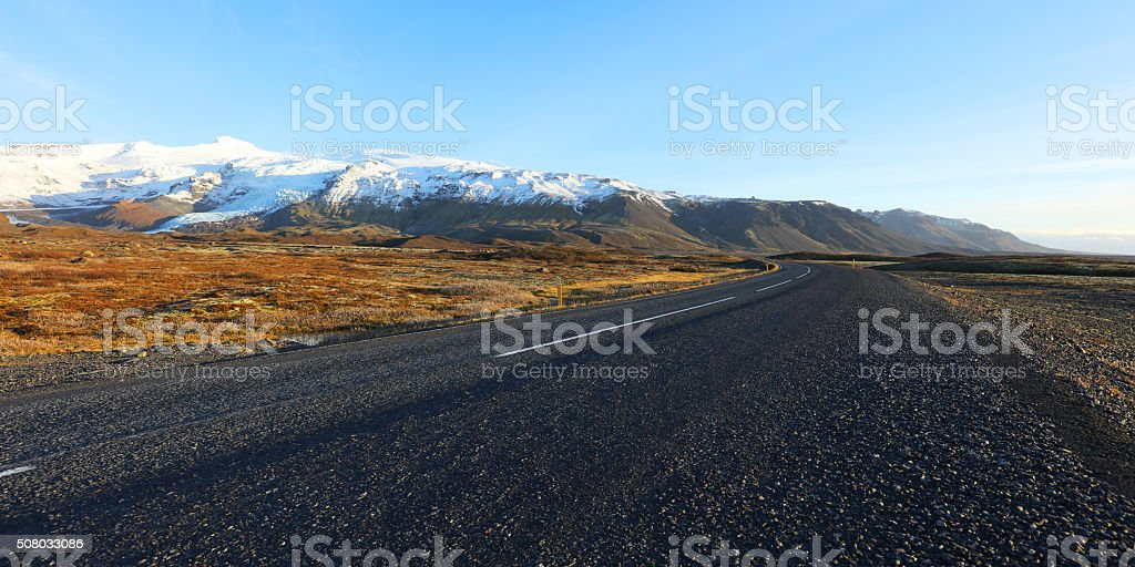 Iceland Empty Road in Winter stock photo