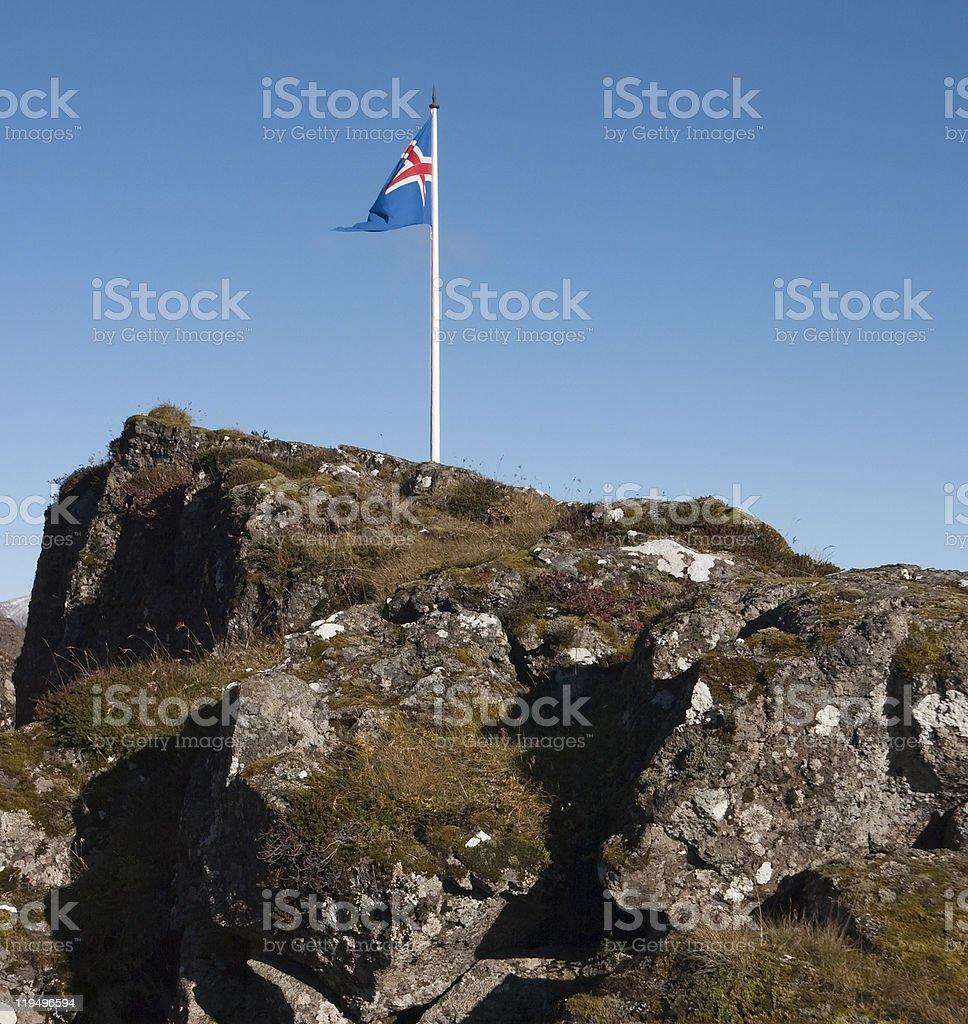 Iceland flag at ?ingvellir stock photo