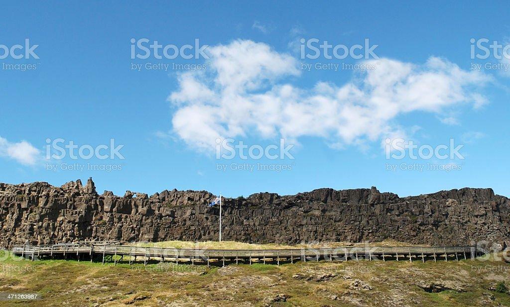 Iceland flag in the Thingvellir National Park stock photo