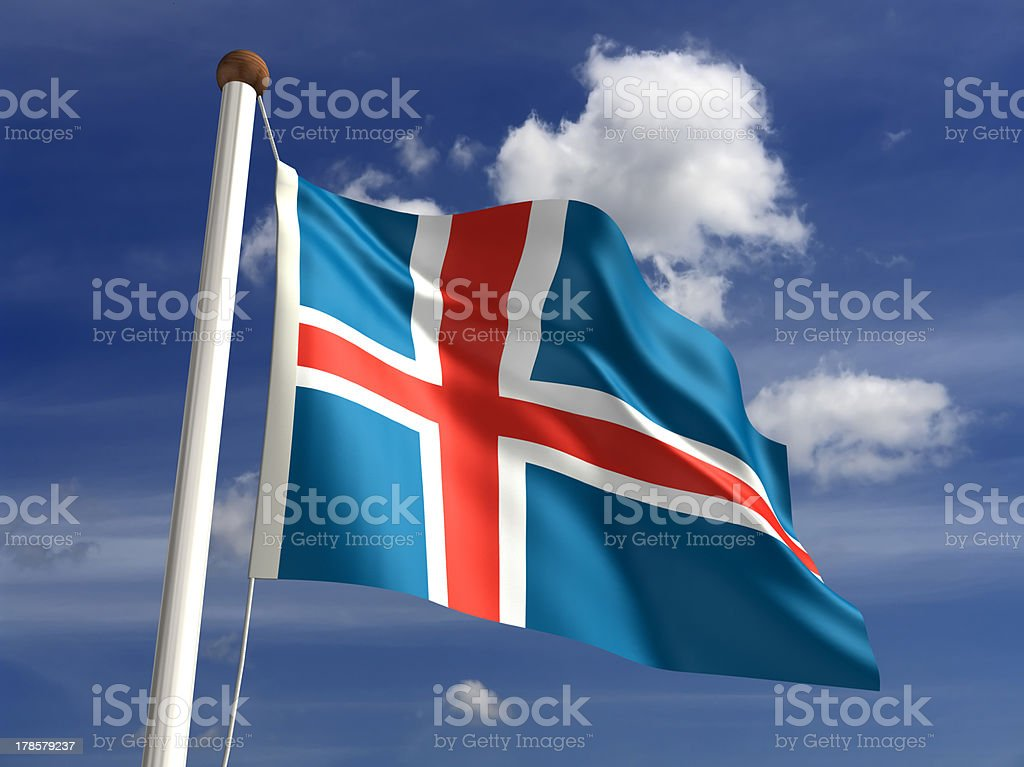 Iceland flag (with clipping path) royalty-free stock photo