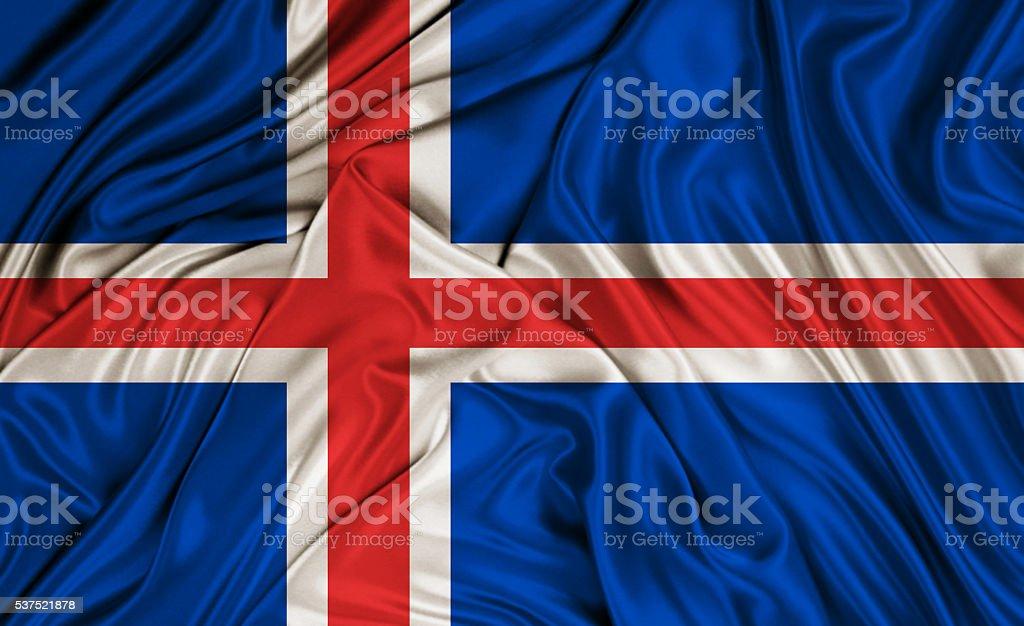Iceland flag - silk texture stock photo