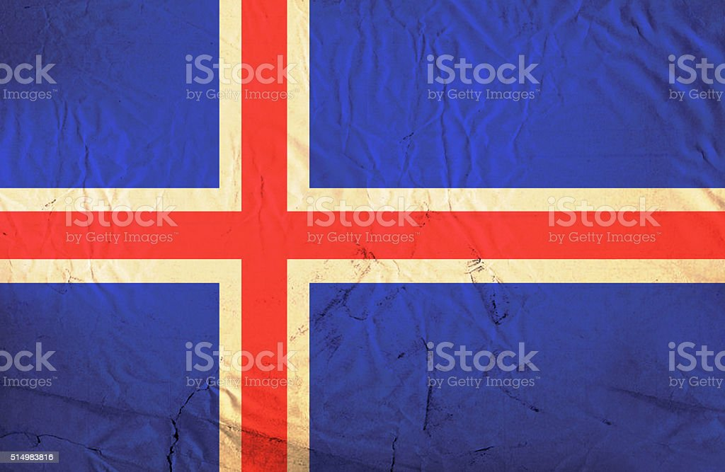 Iceland grunge flag stock photo