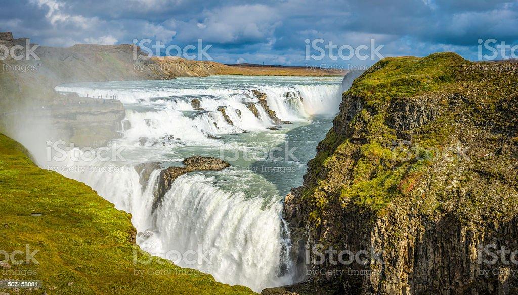 Iceland Gullfoss waterfall cascading river canyon iconic Golden Circle landmark stock photo