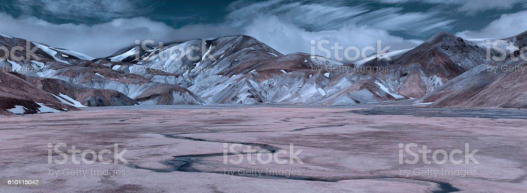 Iceland Highlands Infrared Panorama stock photo