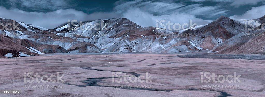 Iceland Highlands Infrared Panorama stock photo