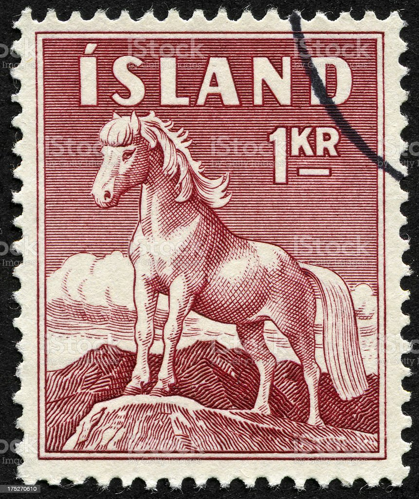 Iceland Horse Stamp royalty-free stock photo