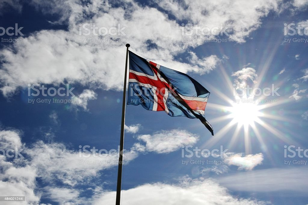 Iceland: Iceland flag in the sun stock photo