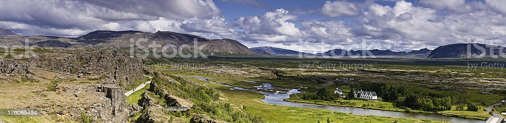 Iceland Þingvellir rift valley panorama ancient viking parliament site stock photo